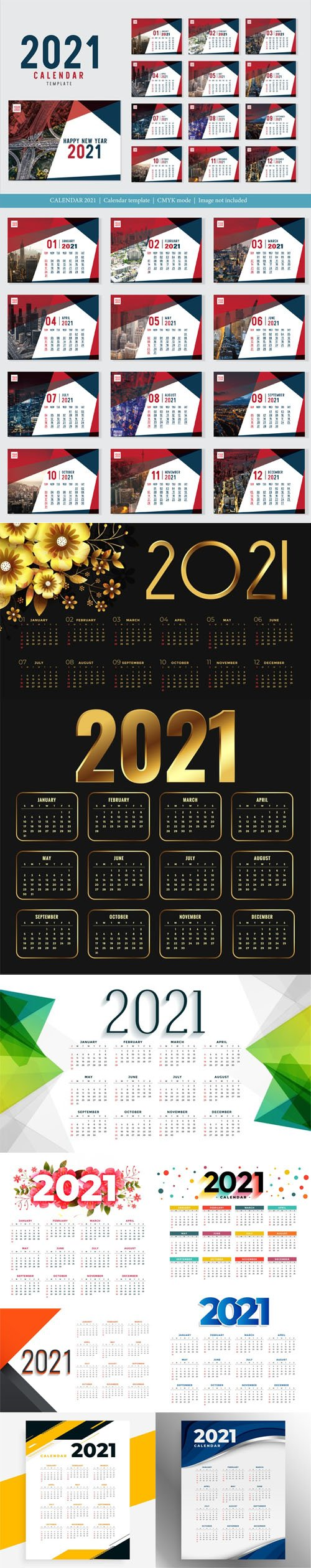 10 Modern New Year 2021 Calendars Collection in Vector