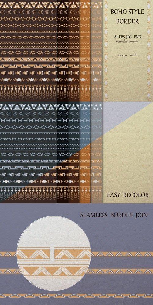 Boho Style Border -  Gold Foil Vectors Collection