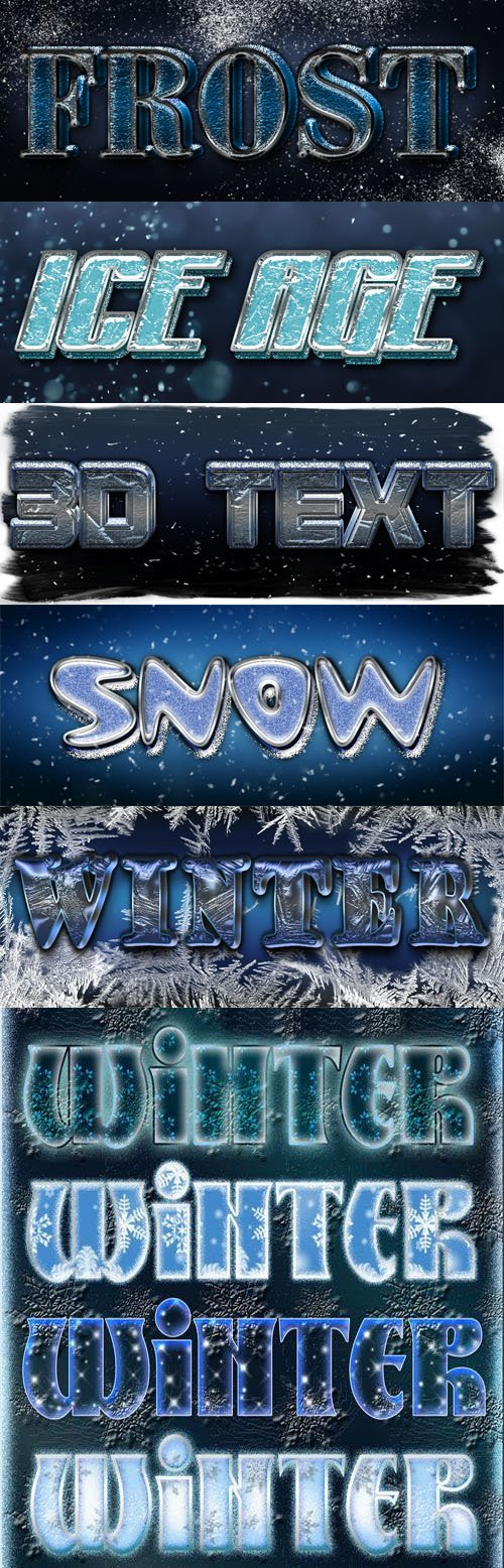 20+ Winter & Snow 3D Text Effects - Photoshop Styles