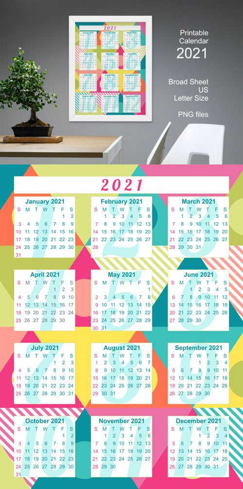 Printable Calendar 2021 with Colorful Bold Triangles Patterns