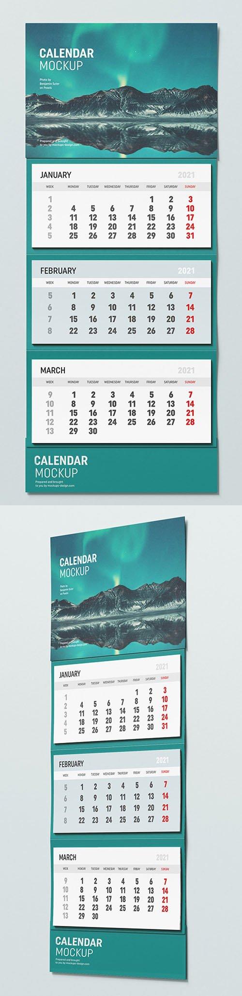 New Year 2021 Wall Calendar PSD Mockup Template
