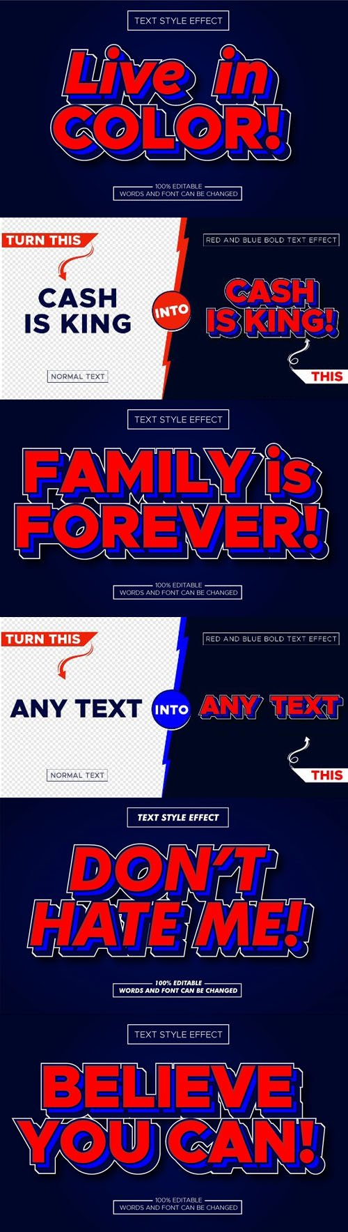 Red & Blue Bold Vector Text Style Effect