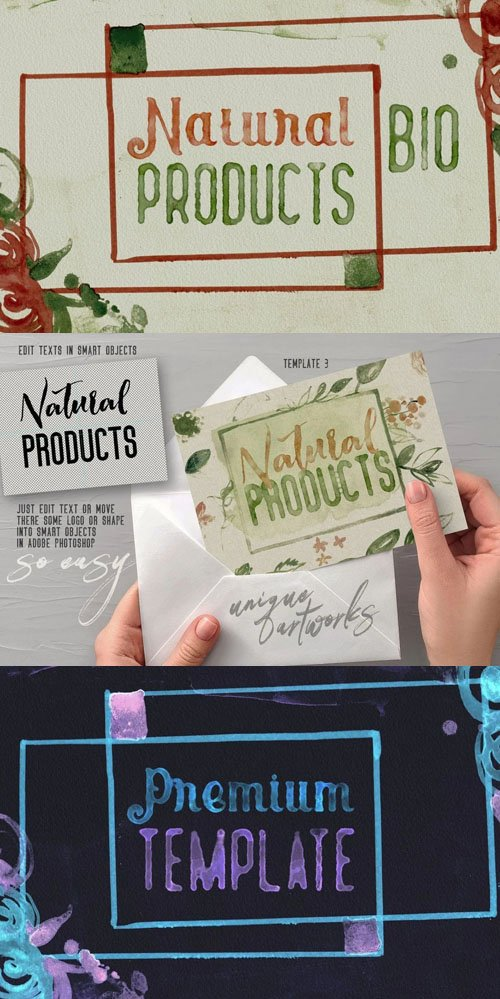 Watercolor Text Effects PSD Template