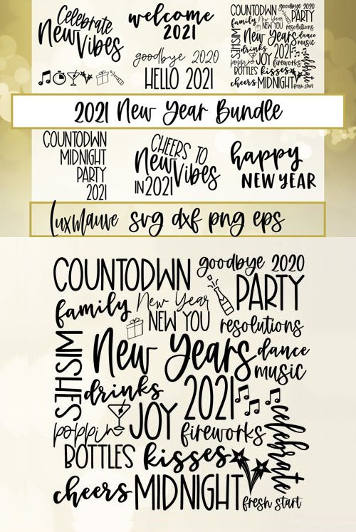 2021 New Year Cut Files Bundle in Vector