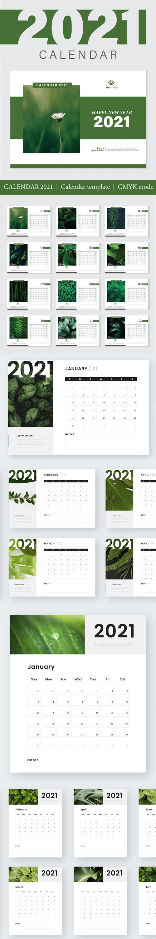 Modern Abstract New Year 2021 Calendars Vector Templates in Green