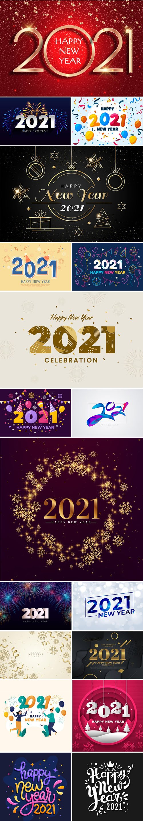 18 Happy New Year 2021 Backgrounds & Lettering Vector Collection