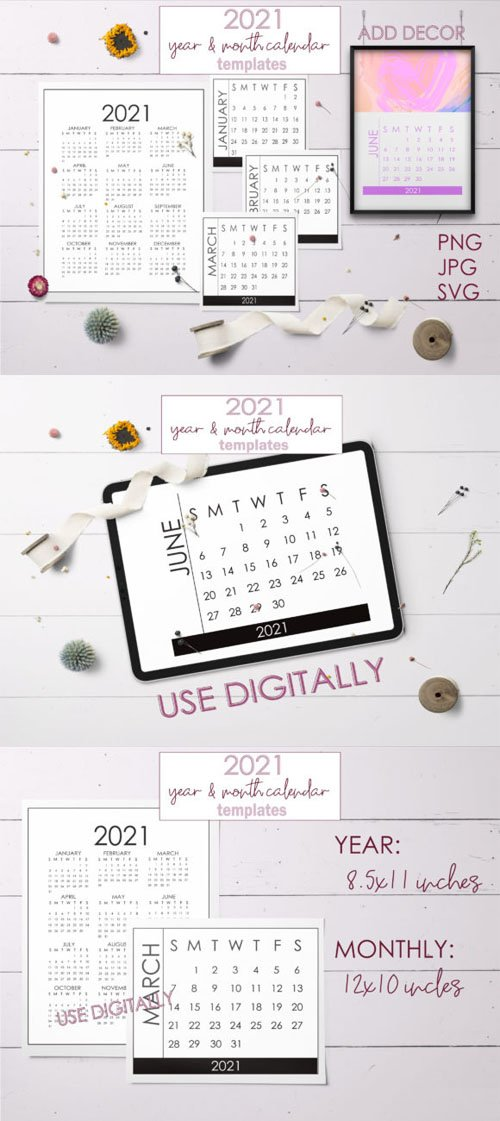 2021 Year & Month Calendar Templates [12-Months]