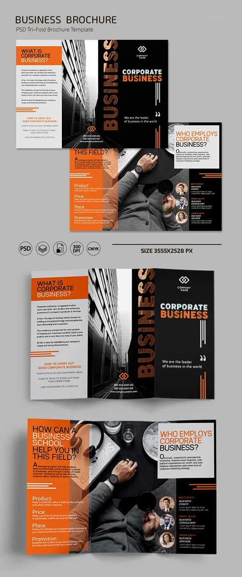 Business Tri-fold Brochure PSD Template