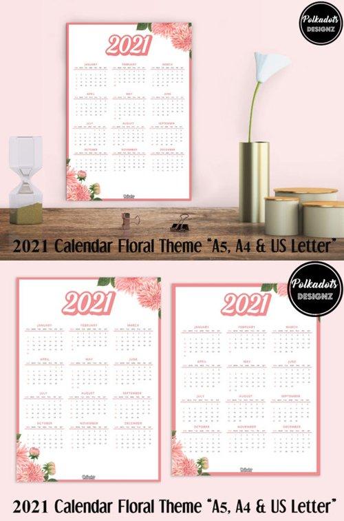 2021 Calendar Floral Theme [A4 / A5 / US Letter]
