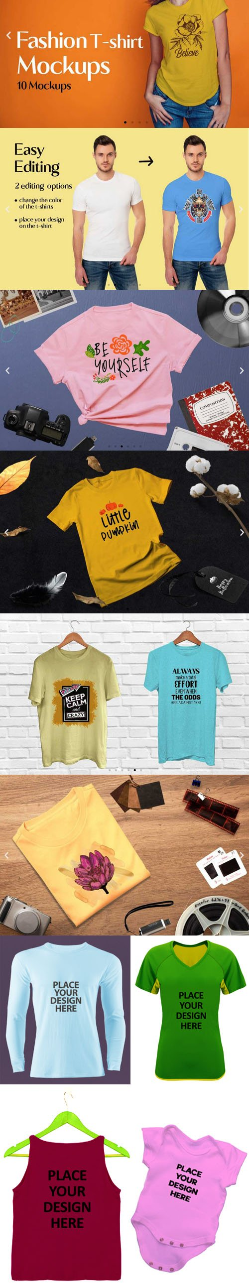 Fashion T-shirt PSD Mockups Collection