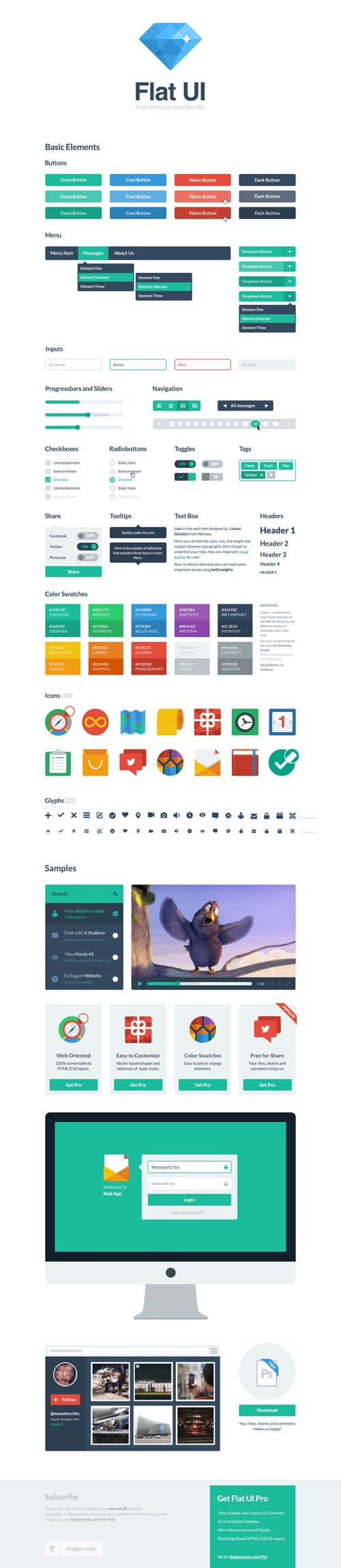 Flat UI - Framework and Bootstrap Theme Design [PSD/HTML]