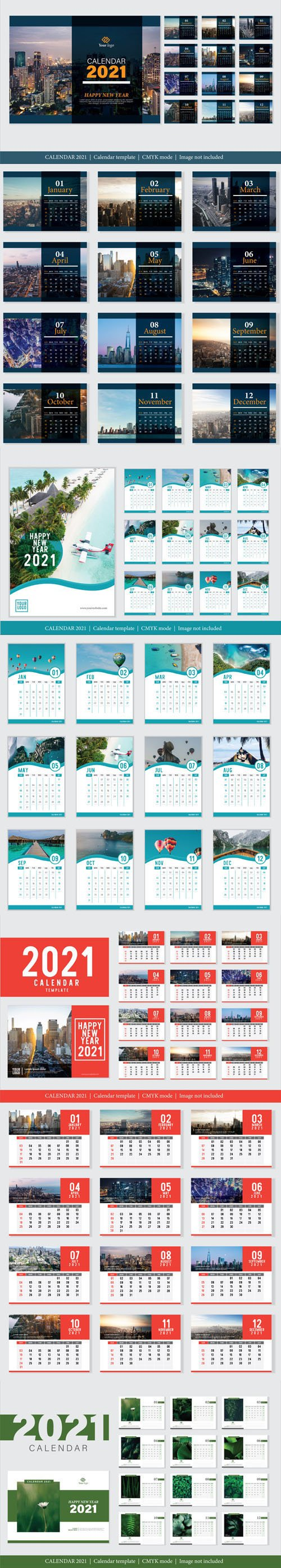 8 Modern Professional 2021 Calendar Design Vector Templates