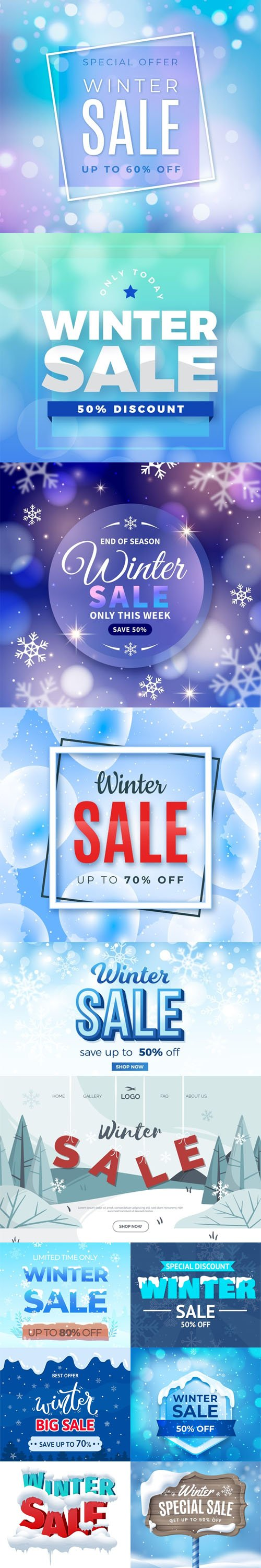 12 Winter Sales Backgrounds Collection in Vector