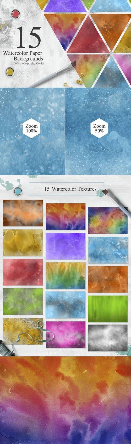 15 Watercolor Textures Backgrounds