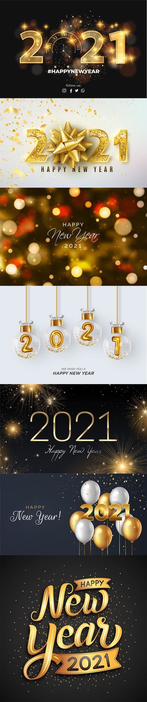 7 Happy New Year 2021 Backgrounds in Vector