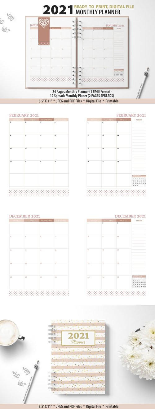 2021 Monthly Planner Printable Templates [12-Months]