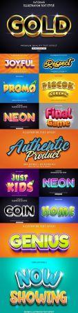 Editable font effect text collection illustration design 248