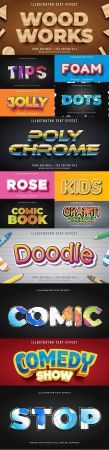 Editable font effect text collection illustration design 245