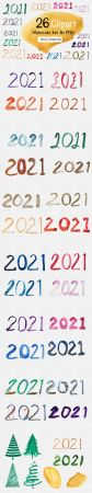 32 New Year 2021 Clipart Watercolor PNG Collection