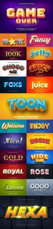 Editable font effect text collection illustration design 246