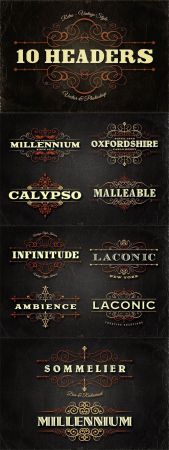 10 Retro Vintage & Ornamental Style Headers Vector Collection + PSD