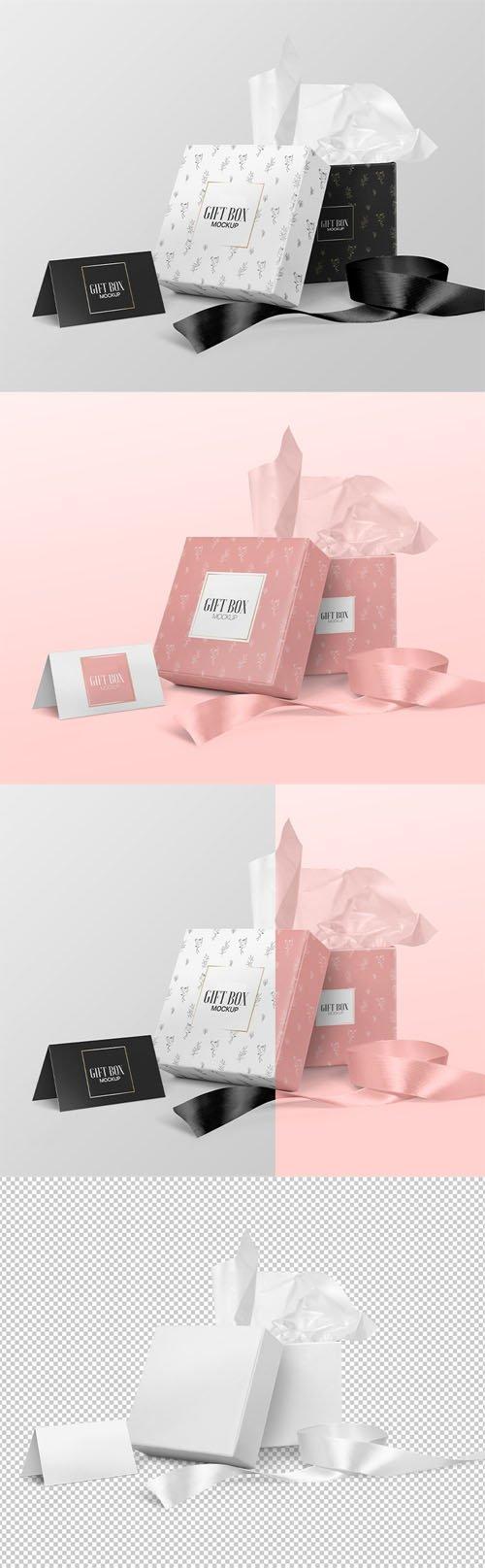 Square Gift Box PSD Mockup Template