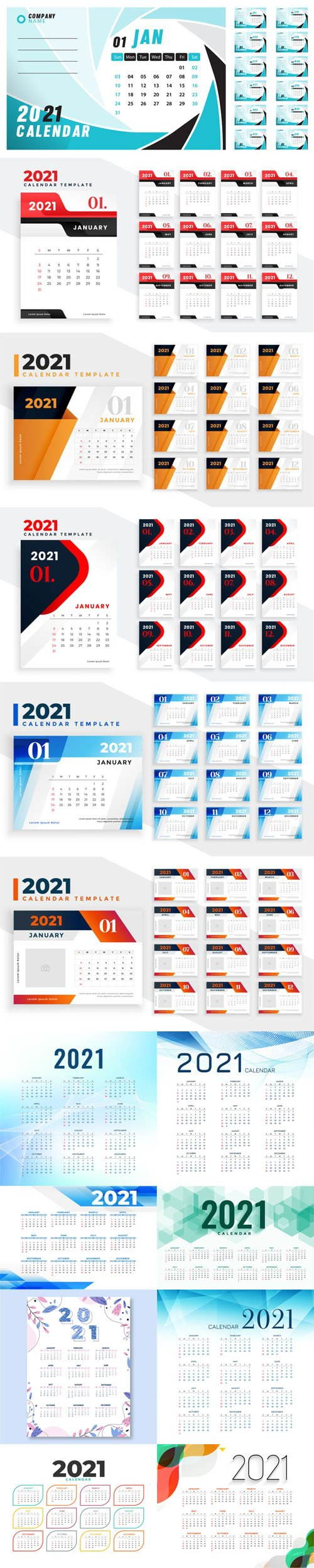 4 New Year 2021 Calenders Templates in Vector
