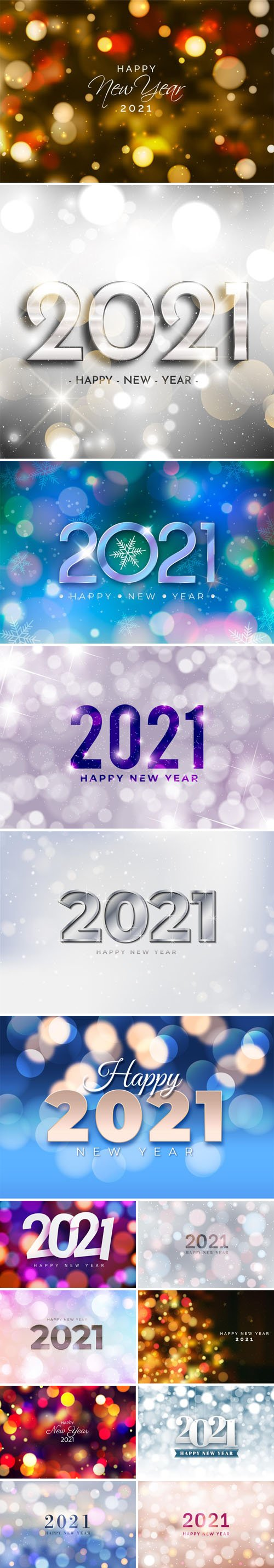 14 Happy New Year 2021 Vector Templates With Blurred Bokeh Lights