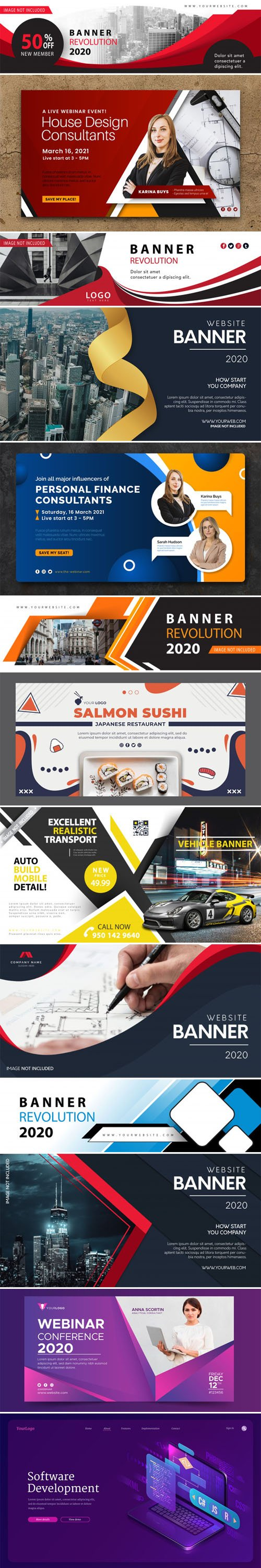 13 Multipurpose Web Banners Vector Collection
