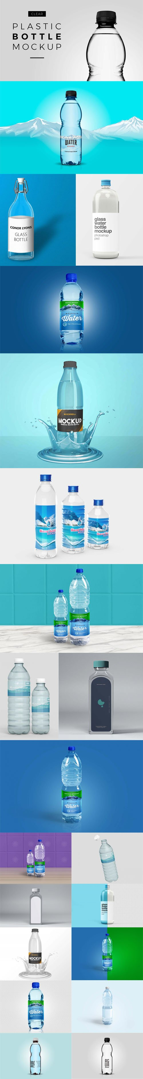 Transparent Glass & Plastic Water Bottles PSD Mockups Templates Collection