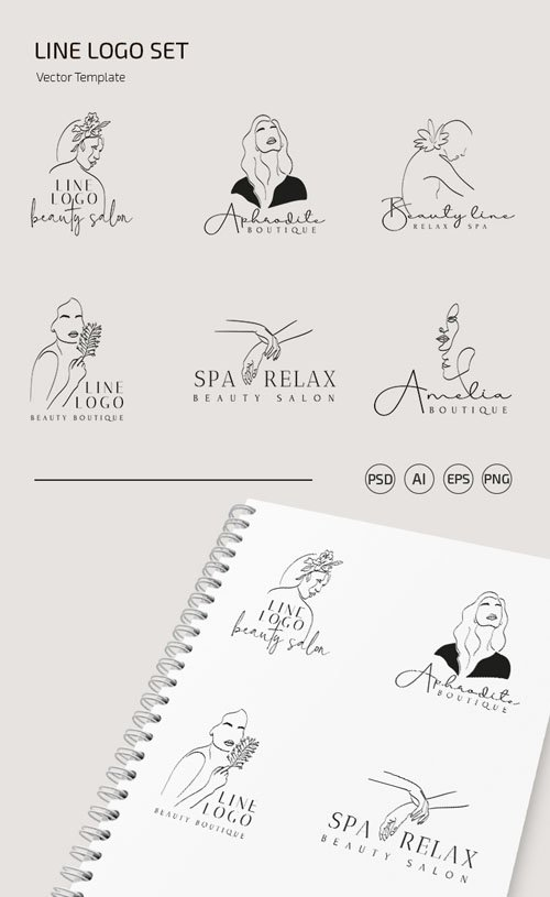 6 Line Logo Set Vector Templates + PSD