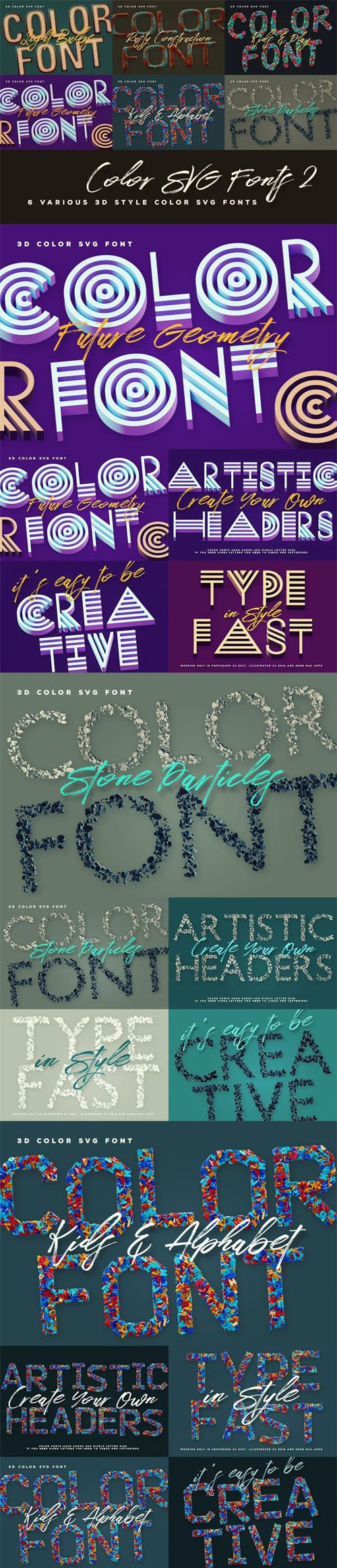 6 Color SVG Fonts Vol.2
