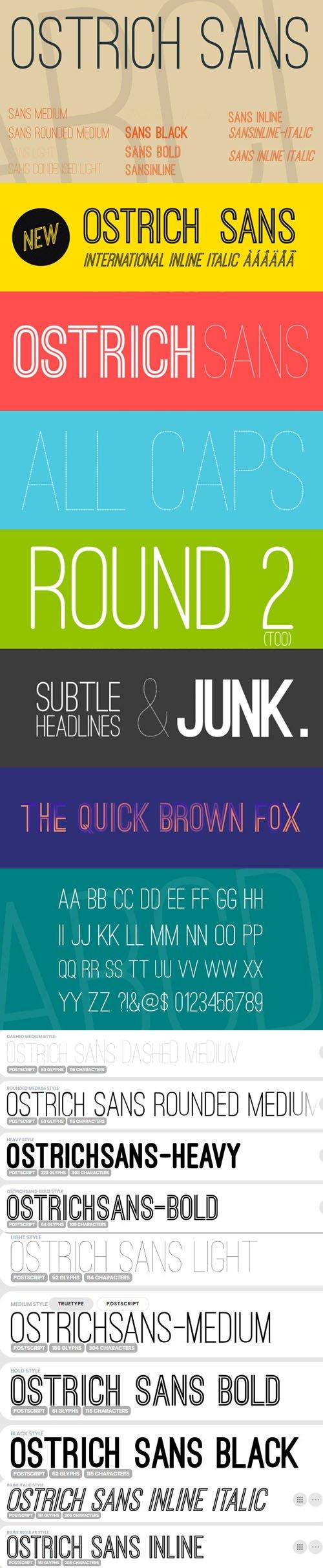 Ostrich Sans Serif Font Family [10-Weights]