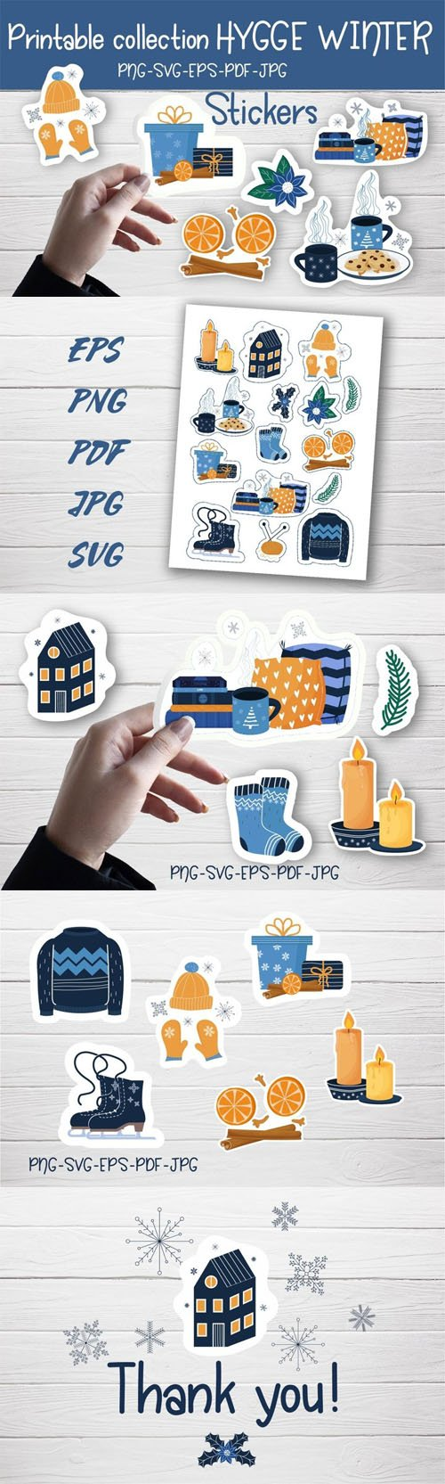Printable Hygge Winter Vector Sticker Collection