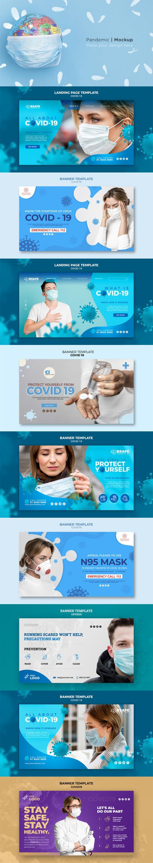 10 Covid-19 Concept Banners PSD Templates