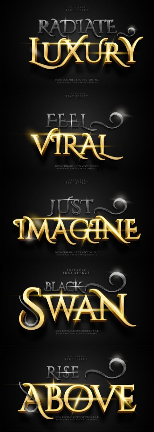 Luxury Black & Gold Editable Vector Text Effect