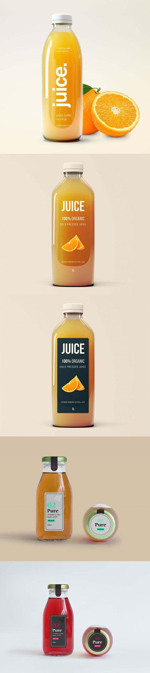 Transparent Glass Juice Bottles PSD Mockups Templates Collection