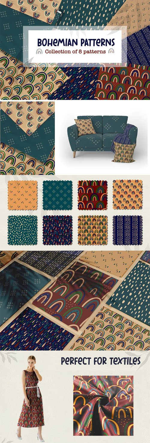 Bohemian Patterns - Collection of 8 Vector Patterns