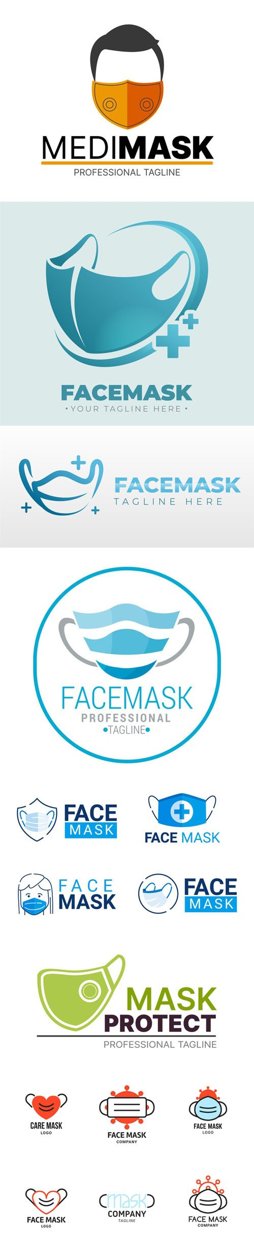 15 Face Mask Logos Templates in Vector