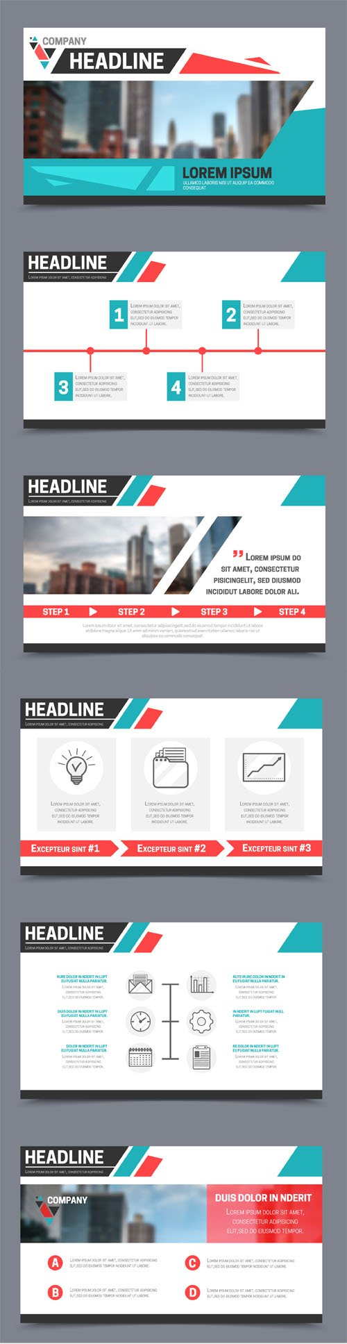 Presentation Templates Vector Set - 6 Slides