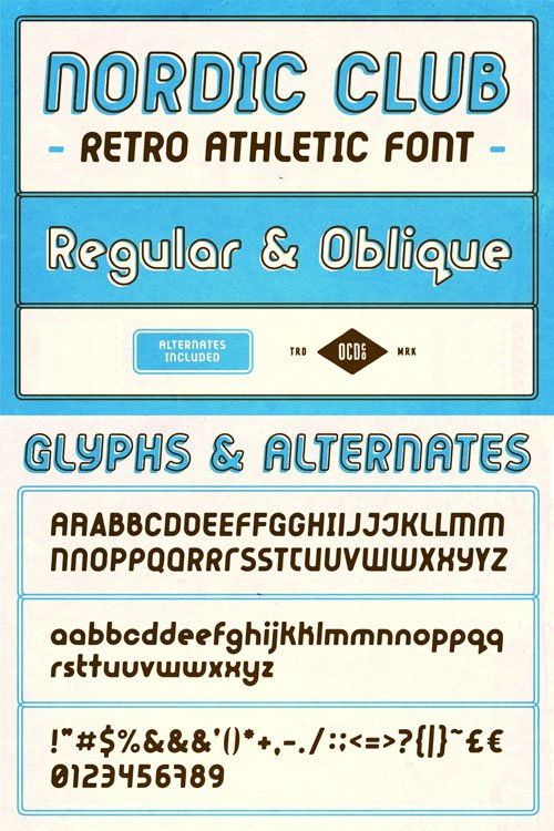 Nordic Club - Retro Athletic Sans Serif Font [2-Weights]