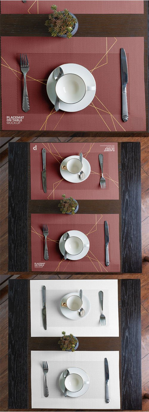Placemat on Table PSD Mockup Template