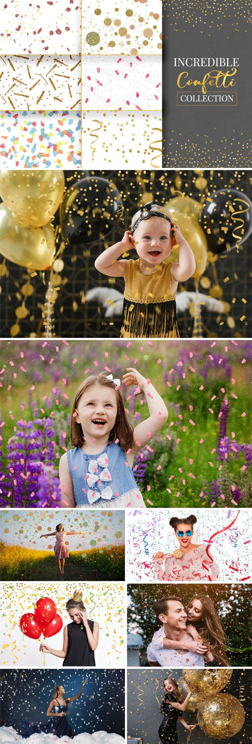20 Incredible Confetti PNG Overlays Collection