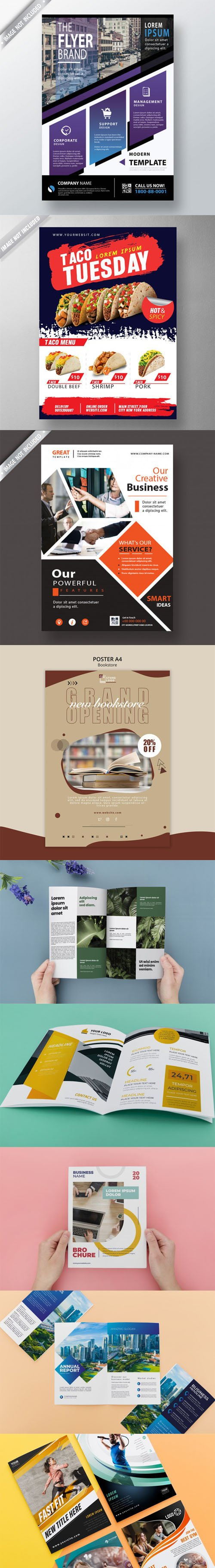 9 Multipurpose Brochures & Flyers PSD Mockups Templates Collection