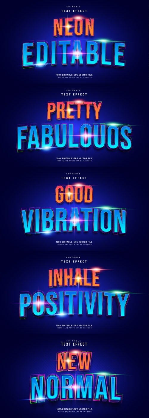 Neon Editable Vector Text Effect
