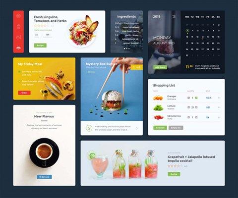 Food & Drink UI Kit PSD/SKETCH Template