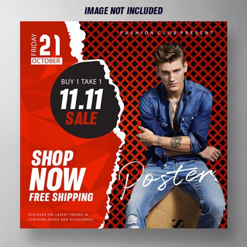 Promotional Sales Poster PSD Mockup Template