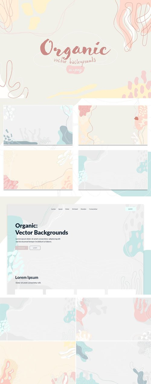 8 Organic Vector Backgrounds