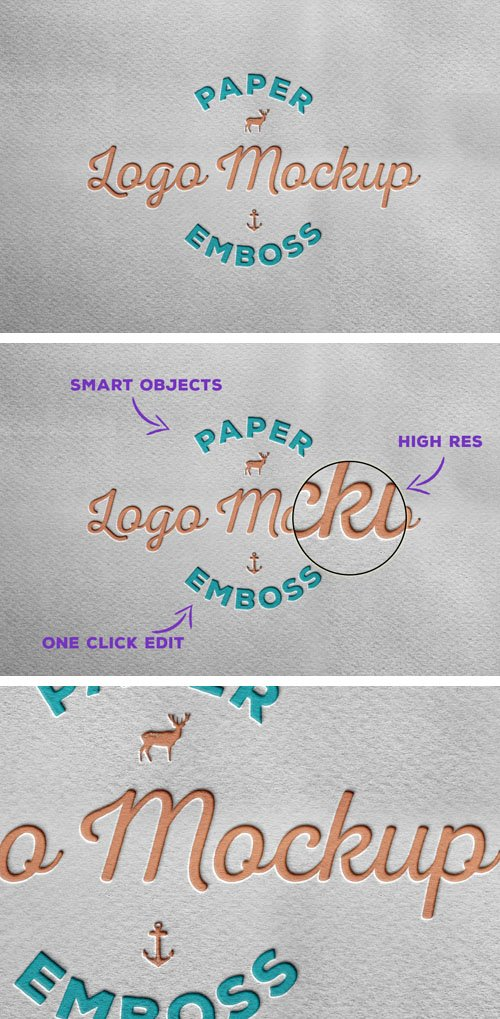 Paper Emboss Logo PSD Mockup