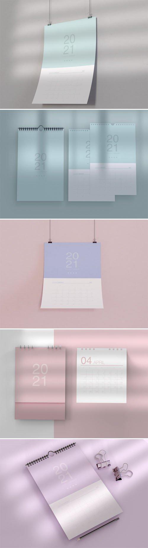 5 Spiral & Wall Calendars PSD Mockups Templates